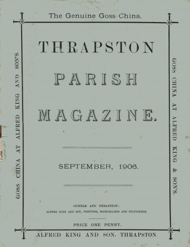 Thrapston Parish Magazine, September 1906 (cover)