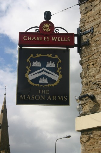 The Mason Arms sign, corner of Oundle Road (2012) | Eric Franklin