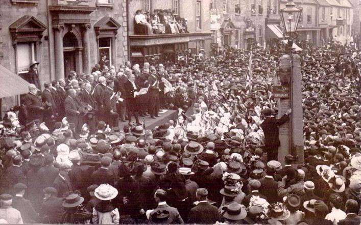 Residents gathering in the Market Square, Thrapston for the Proclamation of George V in May 1910 | Eric Franklin