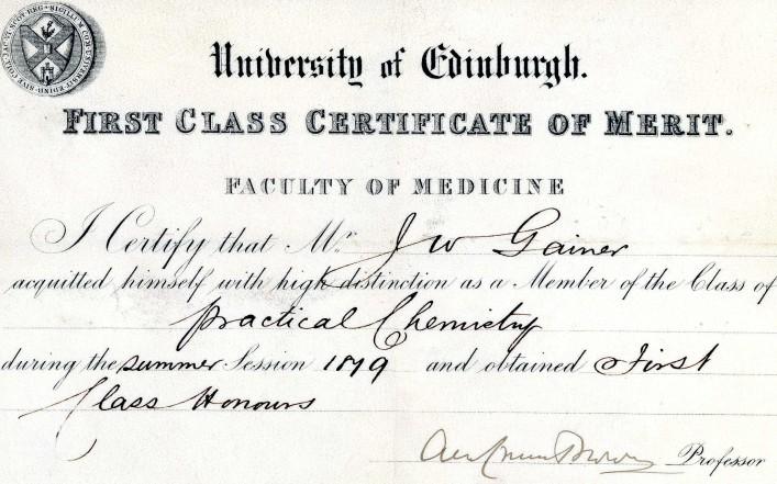 Edinburgh University Certificate