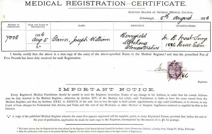 Medical Registration Certificate   5 August 1886