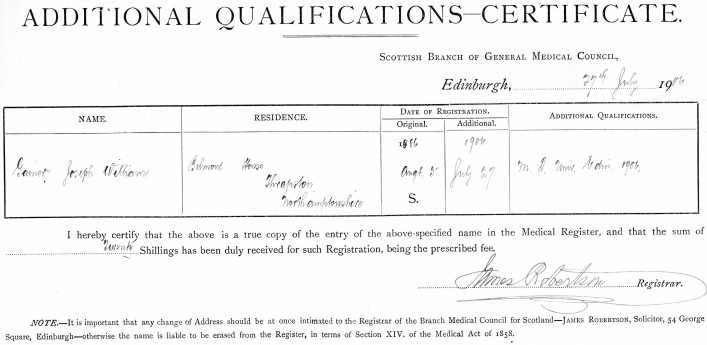 Additional Qualifications  27th July 1906