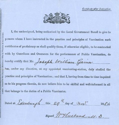 Public Vaccinator Certificate 29th November 1884
