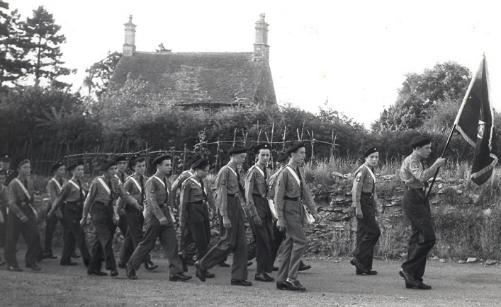 Scouts Parade c1960s, Manor House in Background