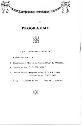A Housewife's Fair - 31st January, 1929  Programme