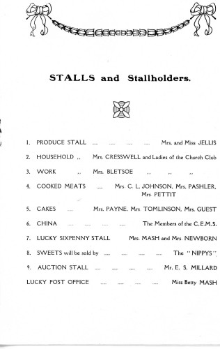 A Housewife's Fair - 31st January, 1929 Stalls & Stallholders