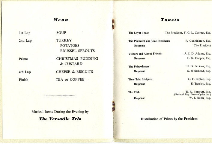 Nene Valley Wheelers 1952 -Menu & Toasts