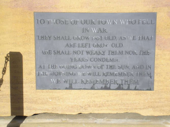 Memorial dedication, carved into slate inset in Northamptonshire Collyweston limestone | Ian Byrnes
